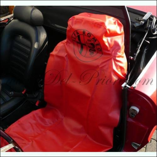 Seat saver leatherette, red with Alfa emblem