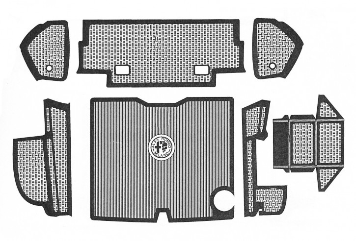 Set of rubber mats for luggage boot, 7 parts